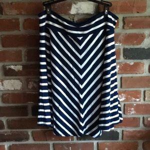 Lauren striped skirt, navy and white